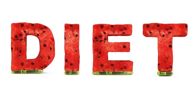 Dieta da palavra feita de letras de melancia isoladas no fundo branco