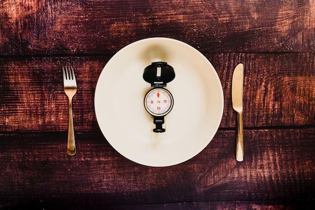 Dieta de jejum intermitente para perder peso com um prato vazio.