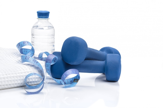 Dieta e perda de peso, desintoxicação. halteres, fita métrica