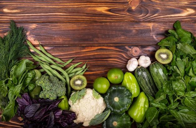 Dieta saudável comida orgânica produção vegetal verde quadro
