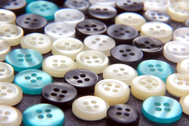 Diferentes botões de madrepérola