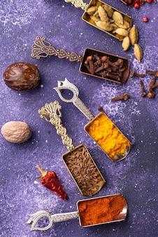 Diferentes especiarias asiáticas ou indianas em fundo roxo