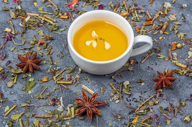 Diferentes folhas de chá seco e xícara de chá verde
