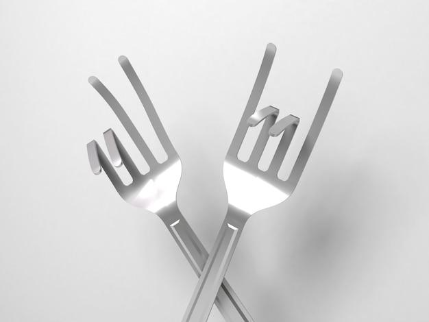 Diferentes garfos dobrados em uma variedade de sinais e símbolos.