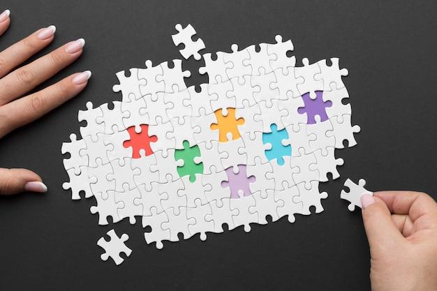 Diferentes peças da disposição do quebra-cabeça