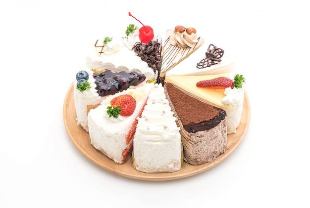 Diferentes pedaços de bolo
