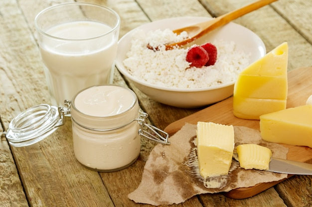 Diferentes produtos lácteos
