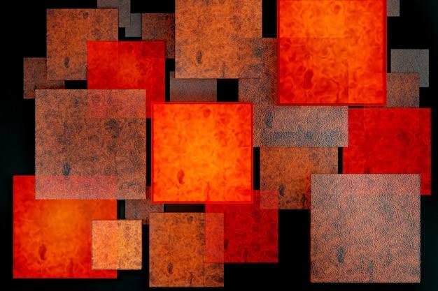 Diferentes tamanhos e níveis de lava fogo queimando placas de pedra sobre fundo preto abstrato para demonstração de produto. layout criativo, renderização 3d