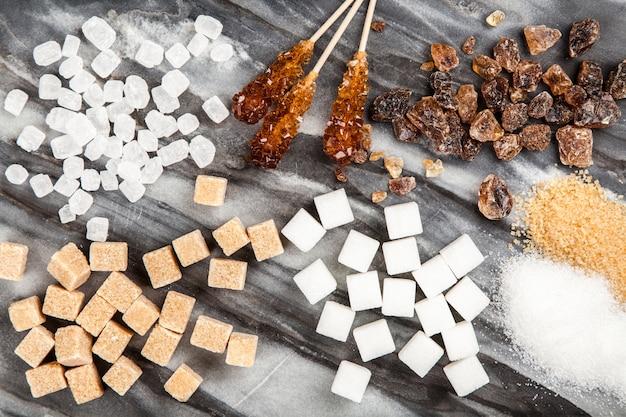 Diferentes tipos de açúcar