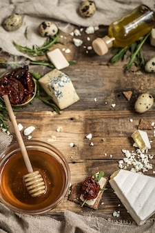 Diferentes tipos de composição de queijo
