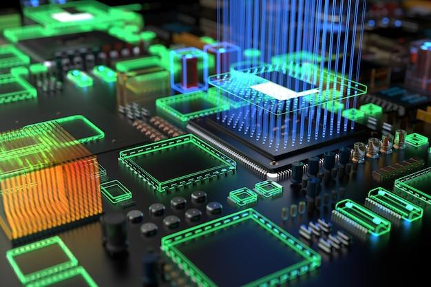 Diferentes tipos de computadores e peças sobressalentes