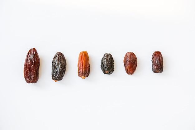 Diferentes tipos de dimensionamento e espécies de tamareiras isoladas em um fundo branco