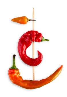 Diferentes tipos de pimenta na vara isolada. imagem do close up de vegetais picantes quentes ideais, pimenta de caiena, tabasco. alimentos orgânicos naturais saudáveis