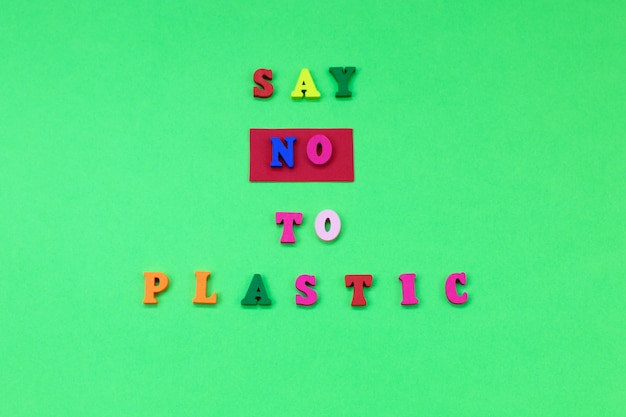 Diga não ao plástico. ambiental, conceito de poluição