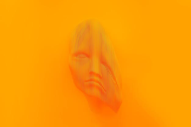 Digital, decadência, composto, parte, brilhante, cor, conectar, listras, linhas, resumo, plano de fundo, surrealismo, realidade virtual, cabeça, ilustração 3d, espaço de cópia, modelo