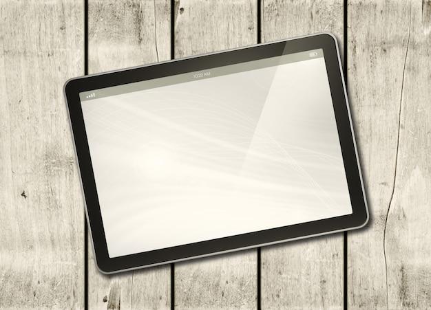 Digital tablet pc em uma mesa de madeira branca