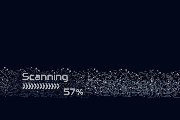 Digitalização com linha digital em fundo azul escuro, identidade biométrica e aprovação. o negócio