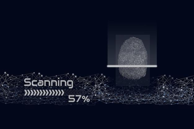 Digitalização de impressão digital com linha digital em fundo azul escuro, identidade biométrica e aprovação.