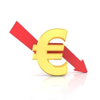 Diminuição da taxa do euro. renderização em 3d.