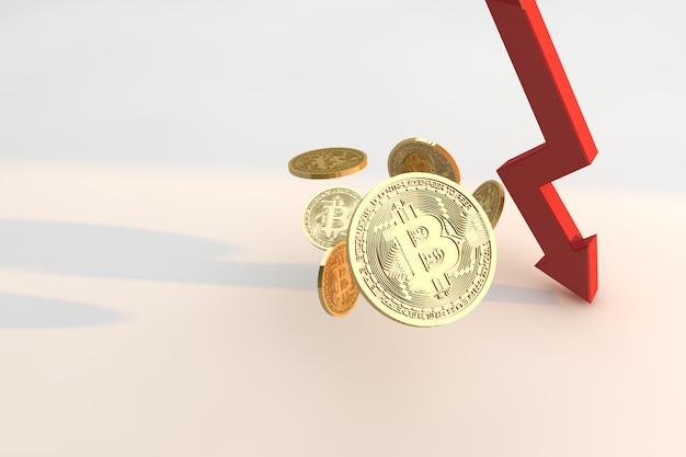 Diminuindo o valor do bitcoin. conceito de crise de criptomoeda