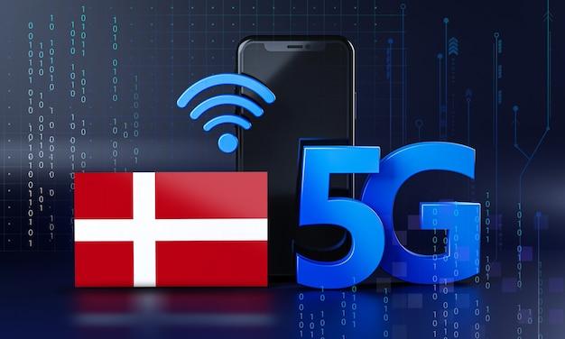 Dinamarca pronta para o conceito de conexão 5g. fundo de tecnologia de smartphone de renderização 3d