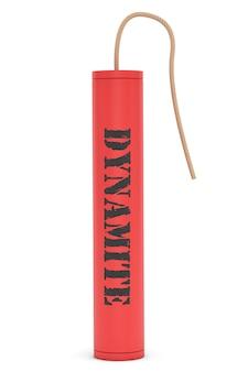Dinamite vermelha com sinal de dinamite em um fundo branco