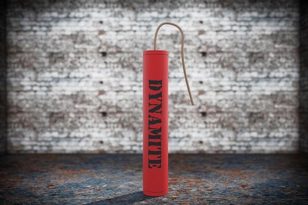 Dinamite vermelha com sinal de dinamite em um fundo de grunge