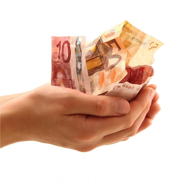 Dinheiro à mão em branco