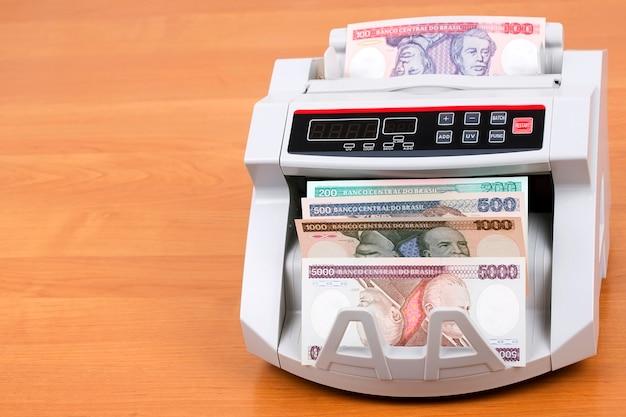 Dinheiro brasileiro antigo em uma máquina de contagem