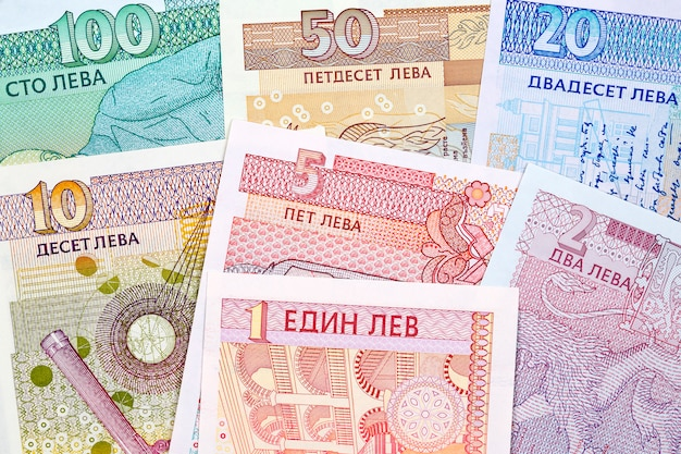 Dinheiro búlgaro - lev uma superfície de negócios