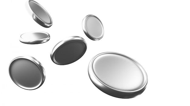 Dinheiro caindo, moedas caindo, moedas de prata voando, renderização 3d