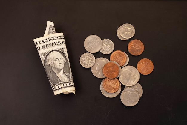 Dinheiro, cédulas de dólares americanos, centavo, níquel, centavo. conceito de finanças e economia.