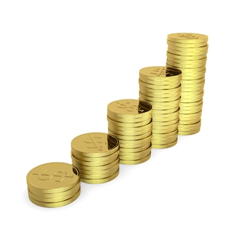 Dinheiro crescente, moedas empilhadas