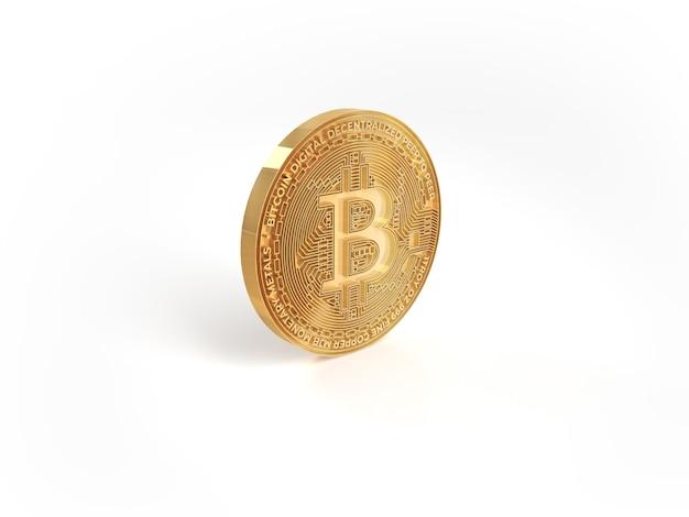 Dinheiro criptográfico de moeda bitcoin dourado isolado no fundo branco