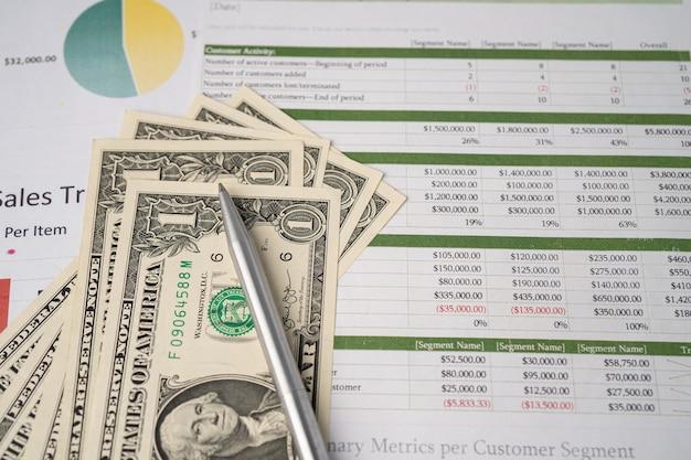 Dinheiro das notas de dólar americano em papel milimetrado gráfico. desenvolvimento financeiro, conta bancária, estatísticas, economia de dados de pesquisa analítica de investimento, comércio, conceito de empresa de negócios.