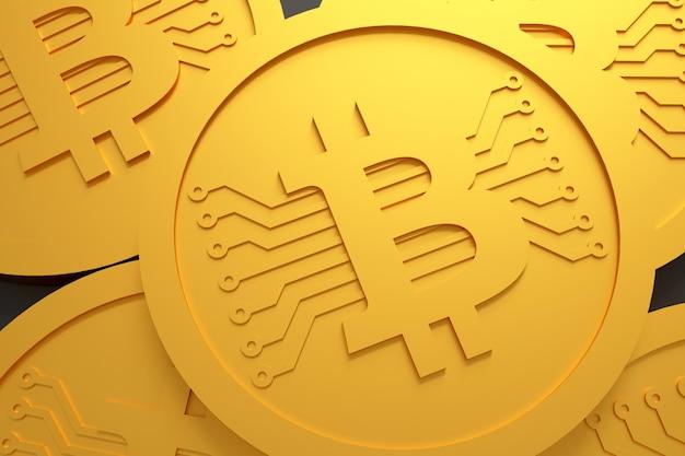 Dinheiro de moeda de bitcoin. renderização em 3d.
