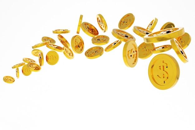 Dinheiro de moedas de ouro caindo, banco comercial