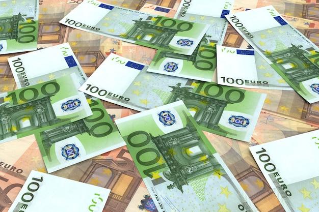 Dinheiro de muitos euros. conceitos de negócios