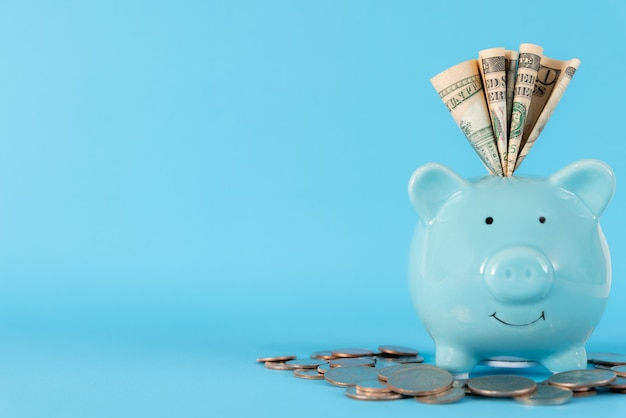 Dinheiro de notas de dólares da américa no cofrinho azul pastel sobre fundo azul.