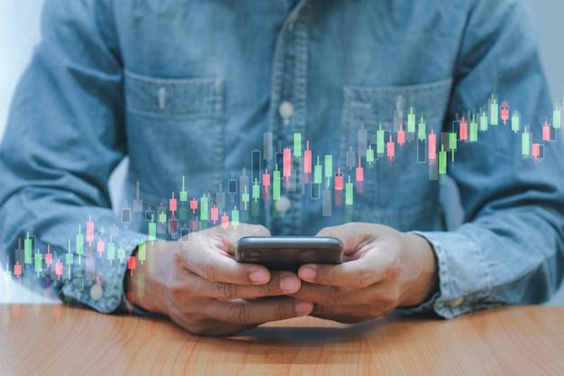 Dinheiro digital de conceito e negócios de ações,