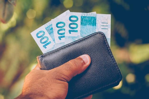 Dinheiro do brasil. notas do real, moeda brasileira