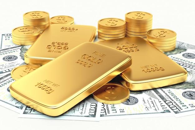 Dinheiro e barras douradas planas