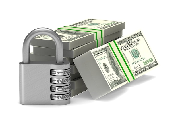 Dinheiro e cadeado. renderização 3d isolada