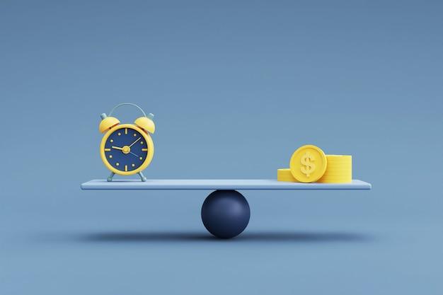 Dinheiro e despertador em uma escala de equilíbrio