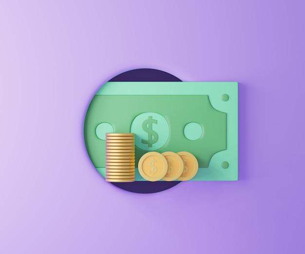 Dinheiro e moedas do buraco do círculo no fundo roxo. poupar dinheiro, sem dinheiro. ilustração 3d render.