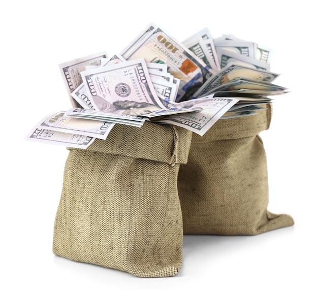 Dinheiro em sacos isolados no branco