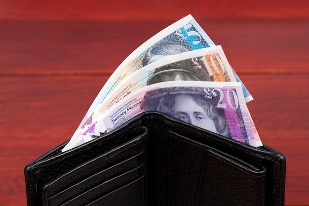 Dinheiro escocês libras em uma carteira preta