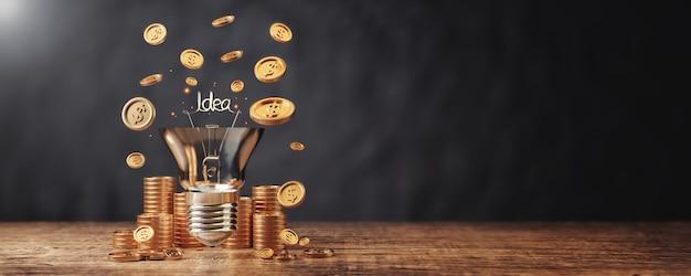 Dinheiro fazendo idéias no negócio para alcançar o sucesso com lâmpada ou idéias e pilha de moedas de dinheiro no chão de madeira.
