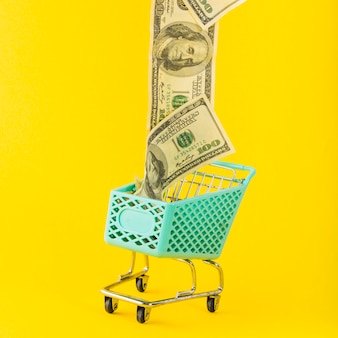 Dinheiro indo embora do carrinho de supermercado