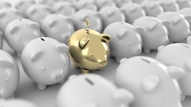 Dinheiro isolado de moedas de ouro, renderização em 3d